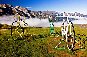 Bicycle Sculptures at the Col d'Aubisque, Cauterets, Aquitaine, Hautes Pyrenees, France, Europe