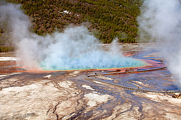 Grand Prismatic Spring, Midway Geyser Basin, Yellowstone National Park, Wyoming/Montana/Idaho, USA.