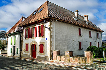 Typical facade of rural building in Burgui village, Navarre Pyrenees, Spain