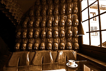 interior of H R Giger Museum Bar in Gruyeres, bar was designed and built under Giger's close personal supervision, District Gruyere, Canton of Fribourg, Switzerland