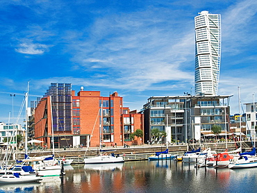 Vastra Hamne, new district of Malmo and view to Turning Torso, with 190 metres highest skyscraper of Scandinavia, Malmo Municipality, Skane County, Sweden, Europe