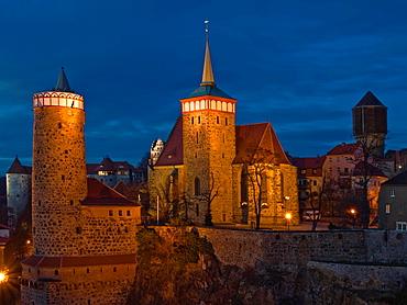 View to Alte Wasserkunst tower and St. Michaels Church, Bautzen, Upper Lusatia, Saxony, Germany, Europe
