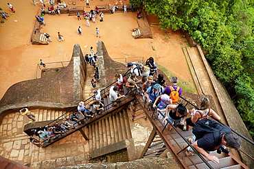 Sri Lanka, Sigiriya, stairs of Lion's Gate to the ancient fortress, ancient Royal Fortress in Sri Lanka, UNESCO World Heritage Site