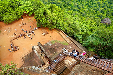 Sri Lanka, Sigiriya, tourists on stairs of Lion's Gate to the ancient fortress, ancient Royal Fortress in Sri Lanka, UNESCO World Heritage Site