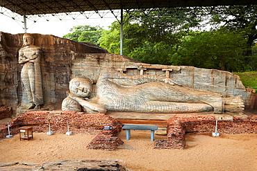 Sri Lanka, Gal Vihara Temple, buddha stone statue, Ancient City area, ruins of ancient Royal Residence, Polonnaruwa, town, old capital city of Sri Lanka, UNESCO World Heritage Site