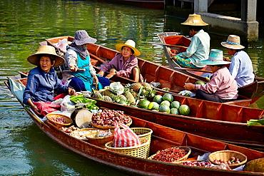 Thailand Floating Market Tha Kha near Bangkok, Thailand