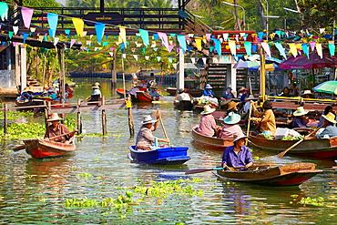 Thailand, Floating Market Tha Kha near Bangkok, Bangkok, Thailand