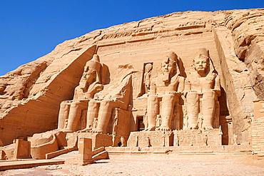 Abu Simbel, Egypt, the entrance to the Ramses II Great Temple, Abu Simbel temple complex located on the Nasser Lake, Lower Nubia, Egypt, UNESCO