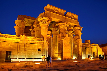 Egypt, Kom Ombo, Temple of Sobek, a Crocodile Temple at night, South Egypt