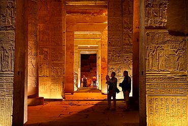 Egypt, Kom Ombo, tourists inside the Temple of Sobek, a Crocodile Temple, South Egypt