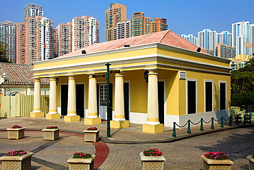 China, Macau, Taipa Village, portugese colonial architecture, modern apartment buildings,