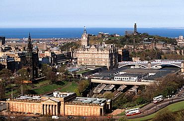 View from Edinburgh castle, National Gallery of Scotland, Waverley station, the Balmoral Hotel, Calton Hill, Edinburgh, Scotland, UK.