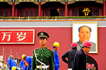Policeman and workers outside the Forbidden City, Beijing, China, Asia.