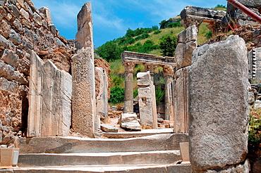 Antique city of Ephesus, poppy flowers in front, Turkey, Western Asia