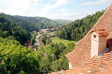 View from the castle Bran Castle Castelul Bran, Count Dracula's Castle, Brasov, Wallachia, Romania