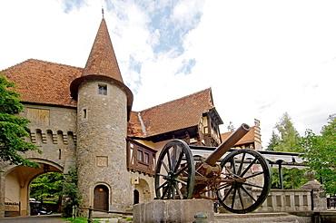 Cannon, Peles Castle Castelul Peles, Transylvania, Romania, Europe