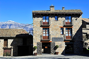 Traditional architecture in the Plaza Mayor of Ainsa, in Sobrarbe Pyrenean region. Huesca, Spain.