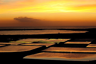 Sunset in Salinas Janubio, on the island of Lanzarote. Canary Islands, Spain.