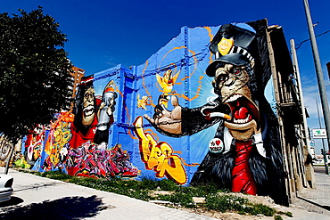 Huge graffiti on a wall in Valencia, Spain
