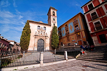 Church of Santa Ana at the beginning of the carrera del Darro, Granada, Spain