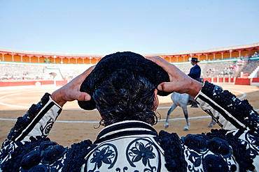 Torero is the montera before you start to fight, Spain