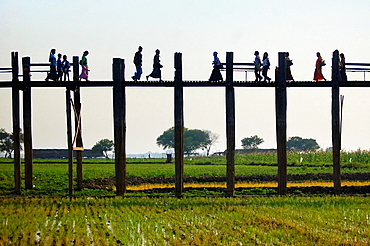 Silhouettes of U Bein bridge. Myanmar, Mandalay, Amarapura, U Bein