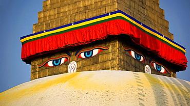 Buddha's eImage Available For Editorial Use Only on Bodnath stupa. Nepal, Kathmandu, Bodnath