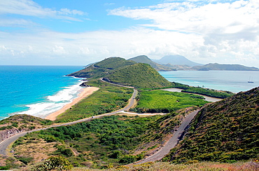 A view of the Atlantic Ocean and the Caribbean Sea as seen from a vantage point on the separating Caribbean island of St Kitts