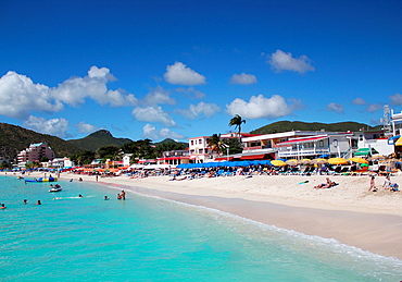 A beautiful beach along the harbor in the port city Phillipsburg, St Martin, DWI