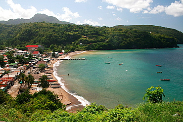 A view from the jungle of the quaint Caribbean fishing village of Anse Le Ray, St Lucia