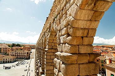 Antique Roman aqueduct, Segovia, Segovia Province, Spain
