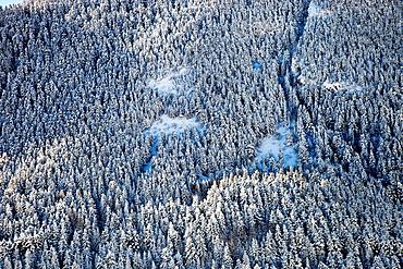 Winter landscape in Aran Valley  Pyrenees  Lerida  Lleida  Catalunya  Catalonia  Spain.