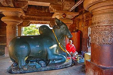 India, Karnataka State, Pattadakal City, (W.H.),Nandi, Virupaksha Temple