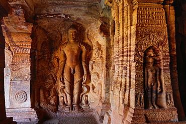 India, Karnataka State, Badami City, Badami Caves, fourth cave, jainism