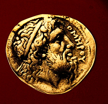 Homer as prophet, silver coin from Ios (4th century BC), Truva, Turkey