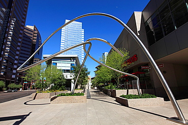 Washington street and 1st Avenue in Downtown Phoenix  Arizona  USA.