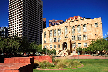 The Art Deco style of Old Phoenix City Hall and Maricopa County Courthouse in Downtown Phoenix  Arizona  USA.