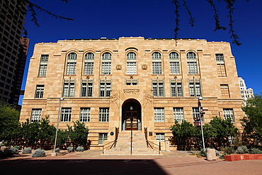 The Art Deco style of Old Phoenix City Hall and Maricopa Ciounty Courthouse in Downtown Phoenix  Arizona  USA.