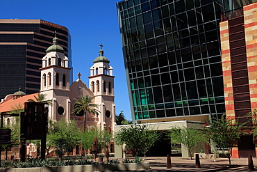 St Mary's Basilica with the structure of Phoenix Convention Center in foreground  Downtown Phoenix  Arizona  USA.