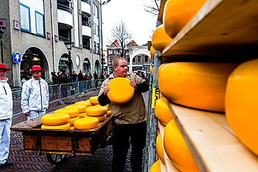 Cheese market, De Waag, Alkmaar, Netherlands, Europe.