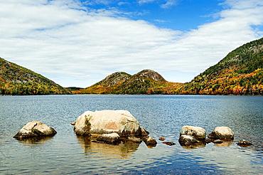 Jordan Pond and Bubble Mountain, Acadia National Park, Mt, Desert Island, Maine, USA.