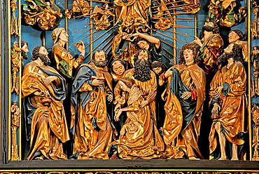 part of the wooden Altarpiece by Veit Stoss at St. Mary's Basilica, Krakow, Poland, Central Europe