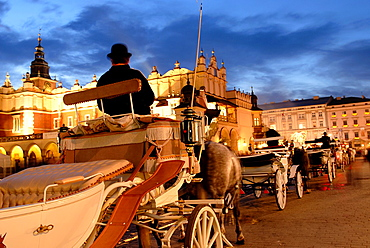 horse-drawn carriage on the Main market square, Krakow, Poland, Central Europe