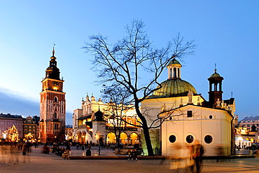 St. Adalbert's Church, Cloth Hall and Tower of the former City Hall on Main market square, Krakow, Poland, Central Europe