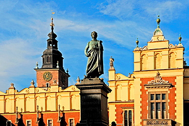 statue of Mickiewicz in front of the Cloth Hall, Main Square, Krakow, Poland, Central Europe