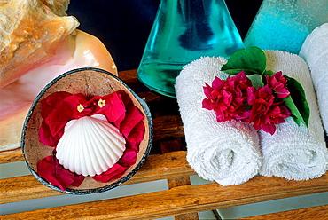 toiletry items, lodge of Denis island, Republic of Seychelles, Indian Ocean