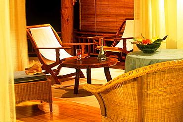 inside a villa on the beach, Denis island, Republic of Seychelles, Indian Ocean