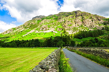 Raven Crag on Langdale Fell in the Lake District National Park, Cumbria, England.