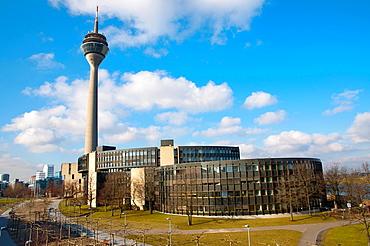 Rheinturm tower and Landtag Nordrhein-Westfalen assembly building Dusseldorf city North Rhine Westphalia region western Germany Europe.