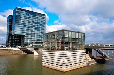 Hyatt hotel at Am Handelshafen riverside Hafen district Dusseldorf city North Rhine Westphalia region western Germany Europe.